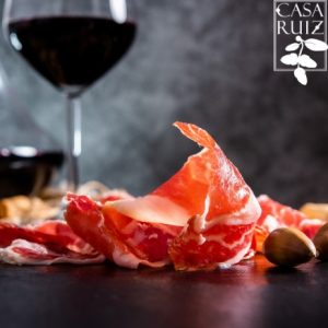 Iberian Ham. acorn-fed Iberian ham. Iberian ham with a glass of wine